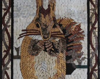 Cute Little Squirrel and Acorn in Snow Marble Mosaic AN1862