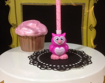 Bright Pink Owl Birthday Candle Holder