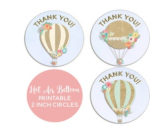 Hot Air Balloon Party, Up Up and Away, Birthday, Hot Air Balloon Favor Tags, INSTANT DOWNLOAD, Hot Air Balloon Thank You Tags, Printable