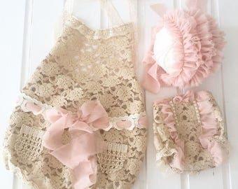 cod71 Sitter size props, Twins photo props, overalls, newborn photo prop, bonnet, pants, jumpsuit, lace baby photography