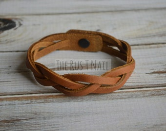 FREE SHIPPING - Cognac Braided Leather Bracelet