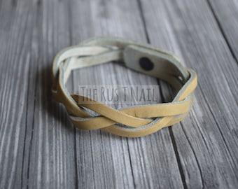 FREE SHIPPING - Beige Braided Leather Bracelet