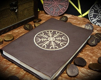 "Book of shadows ""Helm of awer"" paganism pagan symbolism wicca handcrafted journal wizardry"