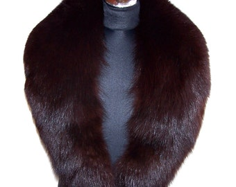 Vintage Arctic Fox Fur Collar. Natural Arctic Fox Fur Stole.  Genuine Fur Shawl. Dyed Brown Arctic Fox Fur Collar.