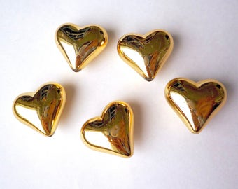 10 large gold plated acrylic heart beads, 22 mm vintage lucite puffy hearts with vertical holes