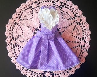 Purple Polka dot overall skirt for MSD / SD / BJD