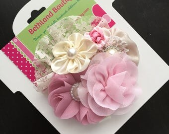 Vintage hair bow-fancy vintage flower hair clip-ivory pink tan bow-couture hair bow-vintage pink ivory hair bow-ivory and pink fabric bows