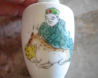 Vintage bone china oriental vase,Tiny,Asian man with deer, Japan,Miniature asian vase,Miniature vase marked japan