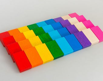 Rainbow dominoes - Learning Toy - Montessori toddler toy - Toddler birthday gift - Wooden toy - Educational toy