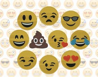 Emoji Machine Embroidery Design Set - 10 Emojis - 3 Sizes - Emoticons - Smiley Faces - Emoji Embroidery Patterns