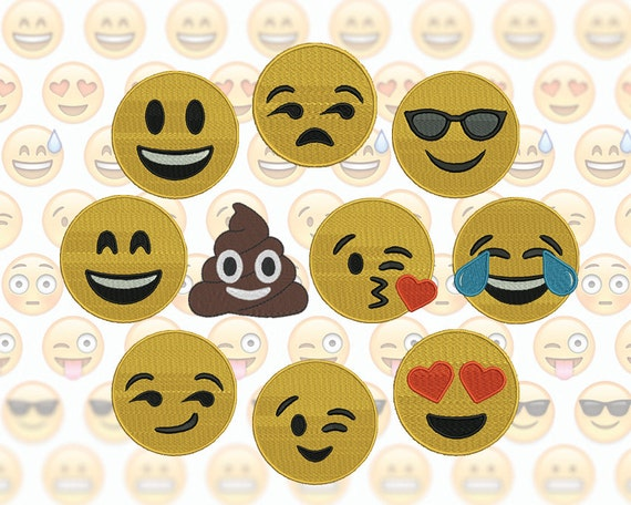 Emoji Machine Embroidery Design Set 10 Emojis 3 Sizes