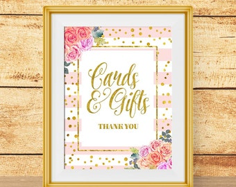 Cards & Gifts Wedding Sign, Pink and gold printable wedding sign, gift table sign, card table sign, Instant Digital Download wedding sign