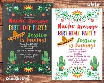 Mexican Fiesta Nacho Average invitation, sombrero birthday invitation, fiesta birthday party invitation printable, salsa thats hot invites