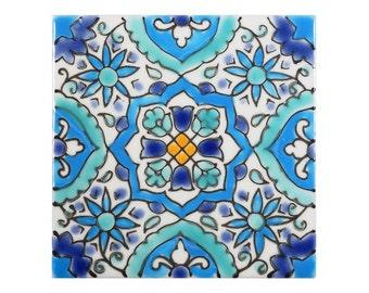 Mediterranean Handpainted Handmade Ceramic Tile, Utica