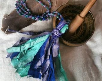 Recycled silk sari Mala necklace