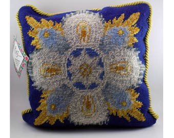 """10"""" Needlepoint Throw Pillow Cushion Silver + Gold Wire Enbroidered Star + Blue Sapphire Jewel Gem Stone Tapestry Cord Embellishment Trim"""