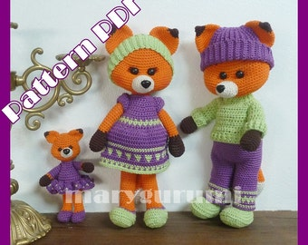 Pattern, boss, family of foxes to crochet, amigurumi tutorial