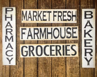 Farmhouse wood sign, market fresh wood sign, groceries wood sign, kitchen decor