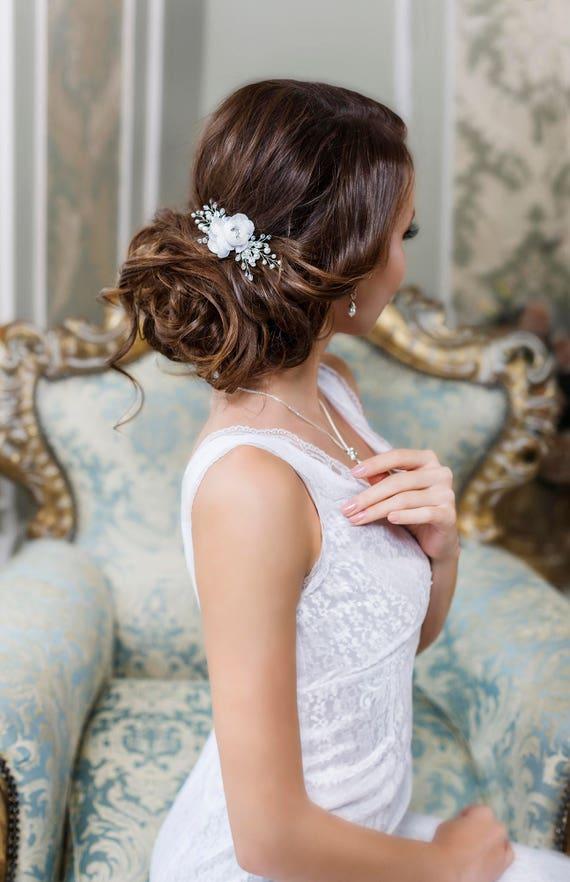 Bridal hair clip Bridal hair flower Wedding hair Flower hair clip Bridal Flower headpiece Flower hair piece Floral Hair Comb Bridal clip