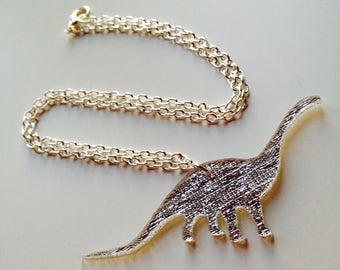 Dinosaur | Diplodocus | Cute | Jurassic | Mirrored | Textured | Gold | Silver | Laser Cut | Acrylic | Necklace