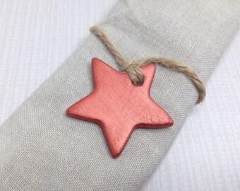 Copper wedding favours, copper stars, copper wedding decor, star tags, clay tags, gift tags, wedding favors, napkin rings.
