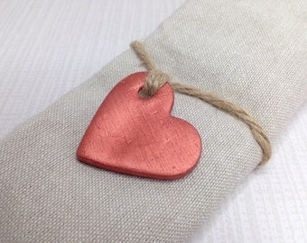 Copper wedding favours, copper hearts, wedding decor, heart tags, clay tags, gift tags, napkin rings.