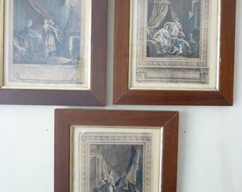 Set of three early 19th century French prints.   Old French prints.