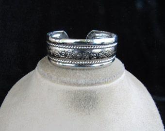 Vintage Chunky Etched Floral Silvertone Cuff Bracelets