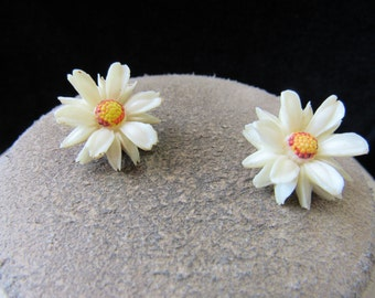Vintage Pair Of Off White Yellow Red Floral Clip Earrings