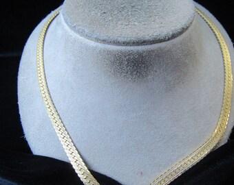 Vintage Goldtone Rhinestone V Designed Necklace