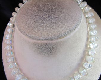Vintage Clear Iridescent Beaded Necklace