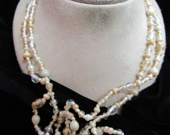 Vintage Long Shades Of Tan & Clear Glass Beaded Necklace