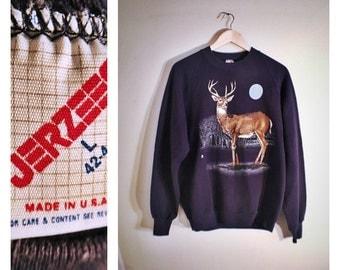 80s navy deer / full moon Jerzees sweatshirt