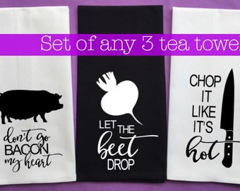 Funny 100% cotton tea towels - kitchen towels - songs - gift
