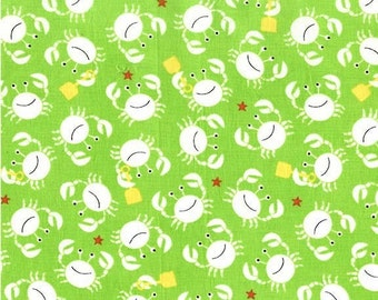 crabs on green fitted sheet, crib sheet, nursery, crib bedding, under the sea, nautical theme, baby girl, geneder neutral