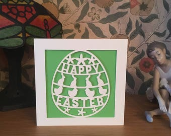 Easter Card - Papercut - Happy Easter Card - Easter Bunny - Easter Chick - Easter Egg Card
