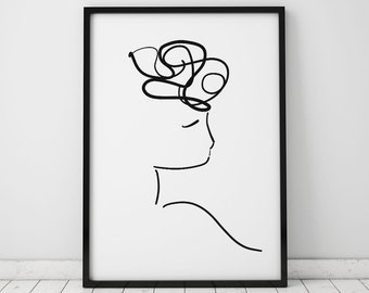 Female Silhouette Illustration INSTANT DOWNLOAD Art, Illustration Printable, Curly Hair, Minimalist Art, Feminist Art, Black and White Print