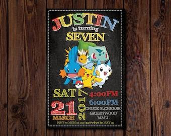 Pokemon invitation, Pokemon invite, Pokemon birthday, Pokemon instant download, Pokemon party, Pokemon editable, Pokemon Printable, Pokemon