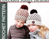 Crochet Hat Pattern - Speckled Ridge Hat Crochet Pattern - Crochet Pom Pom Hat Pattern- Crochet Beanie Pattern - Child Sizes