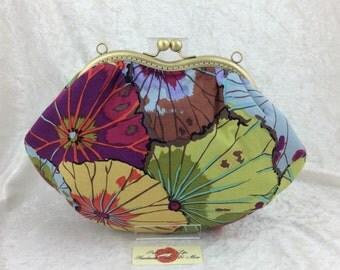 The Grace Lotus Leaf bag purse handbag clutch Kaffe Fassett handmade in England
