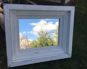 Distressed Mirror, Rustic Mirror, Farmhouse Mirror, Mantel Mirror, Decorative Frame, Home Decor, Handmade, White Rustic Mirror