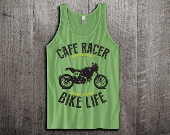 Cafe racer Tank Top, bike life t shirts, motorcycle shirts, gym tanks, cars shirts, biker t shirts, workout Unisex Tank Tops Motomotiveink