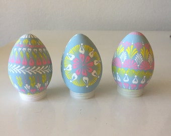 Blue Easter eggs Pysanky hand painted and hand decorated