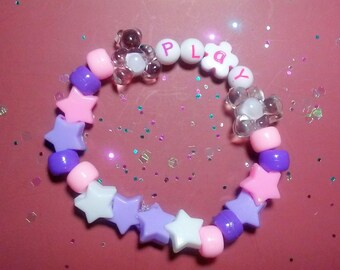 Kawaii Kandi Bracelet - Playful Teddies - Cute Beaded Jewelry - Rave - Pastel - Bears - Lolita - Fairy Kei - Accessories