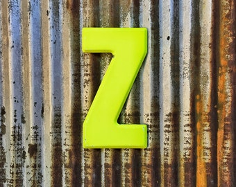 Vintage Metal Marquee Sign Letter, Metal Letter Z, Industrial Metal Letter, Sign Letter, Rustic Letter, Chipped Metal, Galvanized Letter