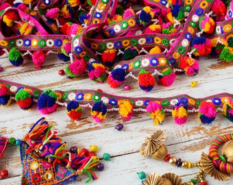 Colourful Pom Pom Trim, Embroidered Trim, Belt Trim, Tassel Trim - 2 yards