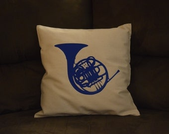 Blue French Horn Canvas Pillow Cover HIMYM How I Met Your Mother - Robin and Ted - Blue and White Pillow - Marshall and Lily