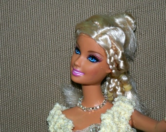 Silvered necklace and bracelet  for Barbie - handmade - fashion royalty - monster high