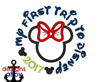 My First Trip to Disney, first Disney vacation, minnie Mrs. mouse head circle 2017 shirt applique 4x4 7x7 ONLY machine embroidery design
