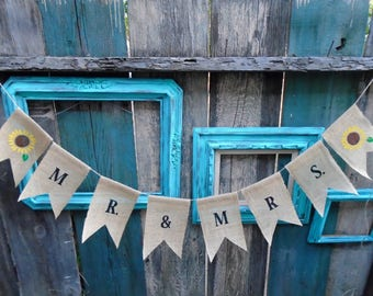 Mr & Mrs. Sunflower Accent Burlap Banner